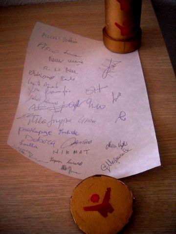 Le firme dei partecipanti. Grazie a tutti!